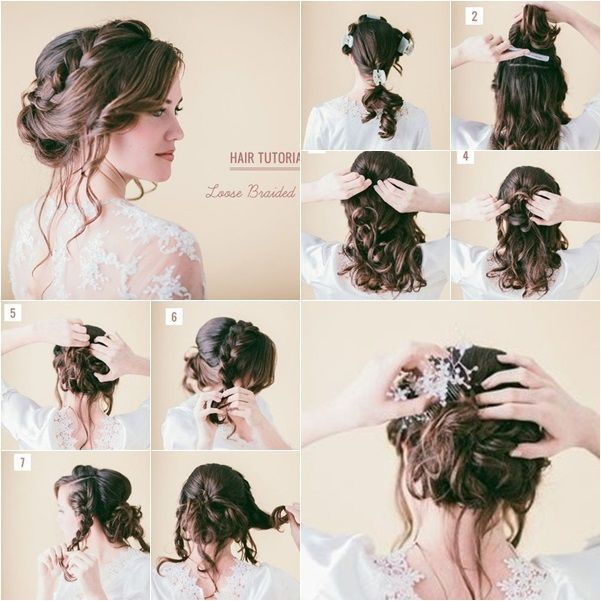 How to DIY Pretty Loose Braid Bridal Hairstyle tutorial and instruction. Follow us: www.facebook.com/fabartdiy