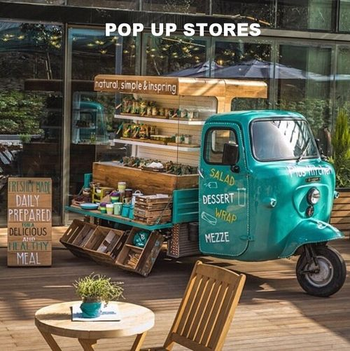 Why not have a combination food truck and merchandising vehicle??!  Sell take home goods at your food truck-- too! Plus Kitchen pop up retail unit (Piaggio Ape style) by www.andcreateltd.com