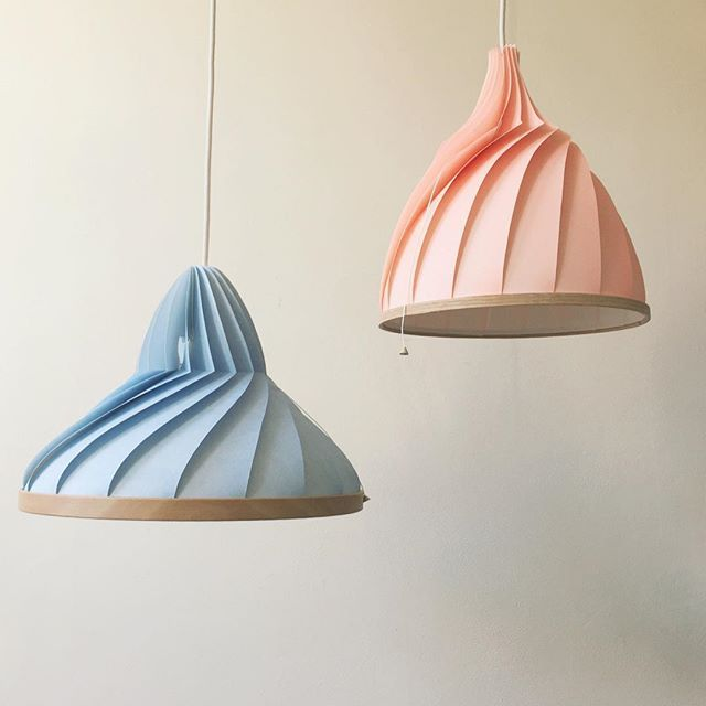 Instagram Photo by snowpuppe on Instush. Photo Description - Brother & Sister, we are thinking about •wave• as name for this serie of lamps thank you for all your ideas! #snowpuppe #colorfulliving #paperlamp