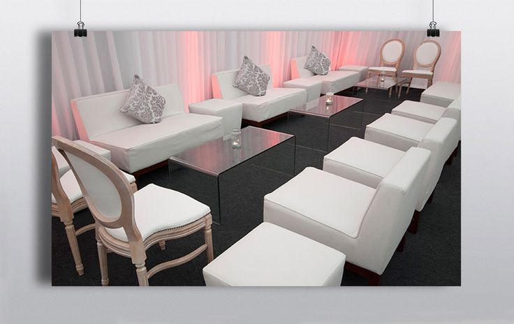 Create a lounge area for your guests where they can take a break from tearing up the dance floor!     White Couch White Single Seats White Poufs Hannah Jane Chairs Glass Coffee Table http://www.prophouse.ie/portfolio/funky-white-lounge-furniture/