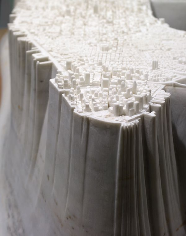 Little Manhattan by Yutaka Sone is  map ofo Manhattan carved entirely of marble. via architizer #Sculpture #Manhattan #Yutaka_Sone
