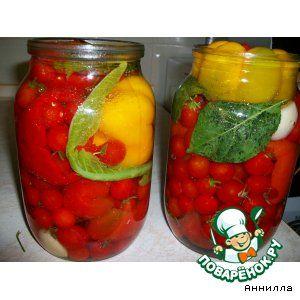 Перец фаршированный помидорами черри