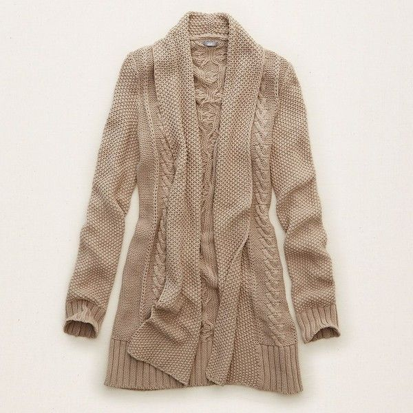 Aerie Cable Knit Cardi ($60) ❤ liked on Polyvore featuring tops, cardigans, holiday heather brown, aerie top, cable shawl collar cardigan, holiday tops, brown cable knit cardigan and shawl collar open front cardigan