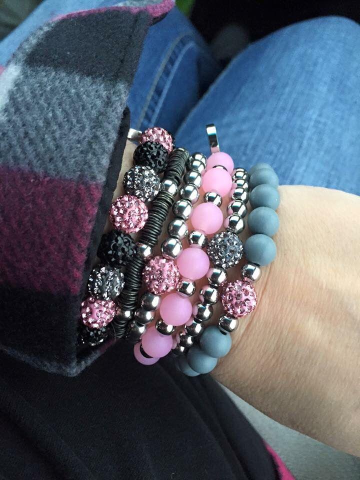 Rustic Cuff - pink & gray