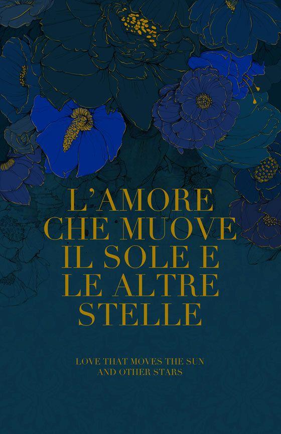Mixed Media Art Print Full Color Illustration Deep Blue Flowers Italian Love Quote Illustration