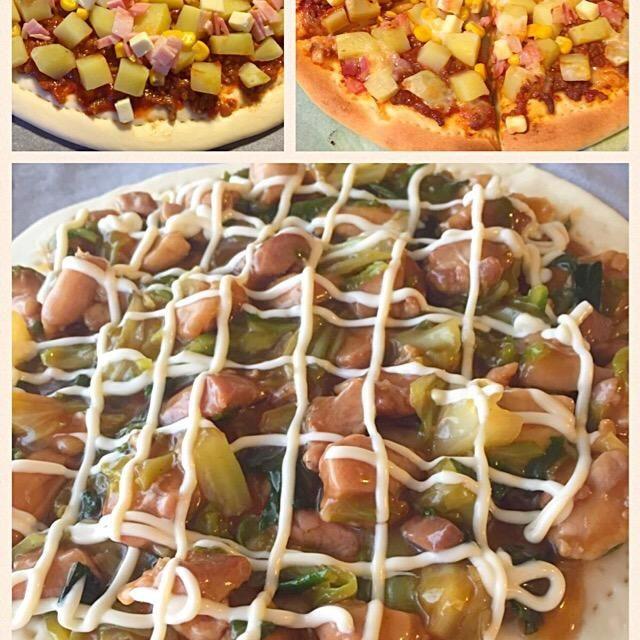 照り焼きチキン&キャベツマヨピザ と 塩茹でポテト、ベーコン、コーンの自家製ミートソースピザ  デリバリーのピザは重くて2枚食べたら もういいかな… ってなっちゃうけど 手作りなら軽くて何枚でもいけちゃう❤️   ✰(◍ ⚈᷀᷁ڡ⚈᷀᷁ ◍)✰ - 20件のもぐもぐ - 自家製ピザ二種 by sakutae