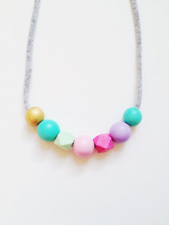 THE EMILY s/s 2015 Coral + Cloud handpainted wooden bead necklace on recycled fabric string in mint, pink, purple and gold - petite size