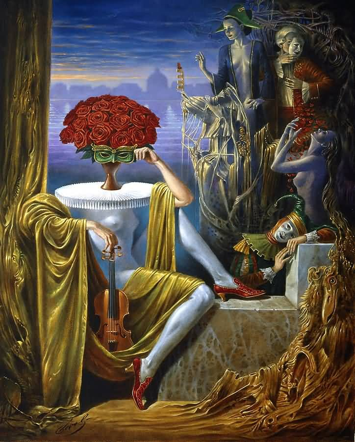 """Michael Cheval Nocturne of Delicate Scents 30"""" x 24"""", oil on canvas"""