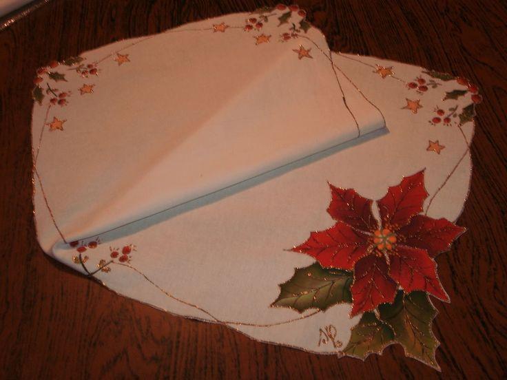 S t y l e s t e l a d e s i g n camino de mesa pintado - Pintura en tela motivos navidenos ...
