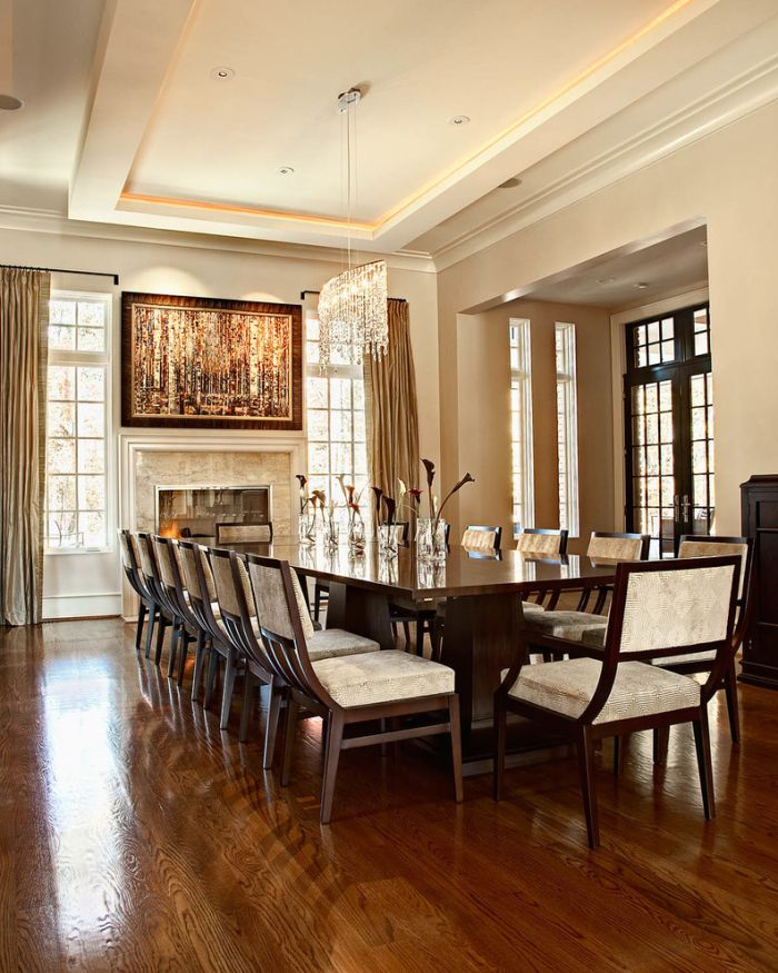 10 Person Table Part - 26: Transitional-Dining-Room-with-a-wooden-dining-table-