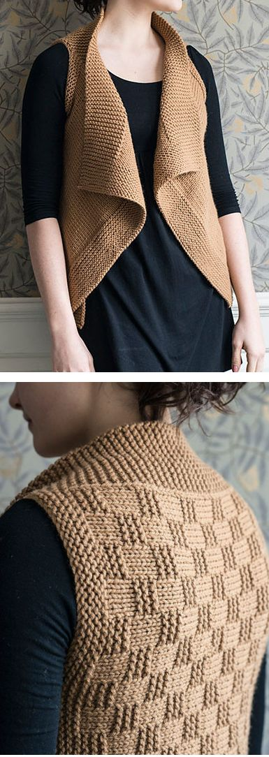Knitting Pattern for Brooklin Vest - This draped open-front vest is knit from side-to-side in one piece, and features a simple texture stitch on the back. Quick knit in bulky yarn. Sizes XS/S (M/L, XL/2XL, 3XL/4XL). Designed by Elizabeth Smith