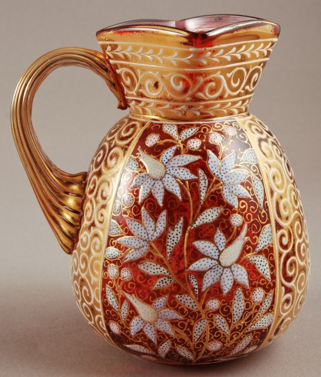 Moser Glass Works, Painted Enamel Glass Pitcher, Czechoslovakia, ca. Late 19th Century.