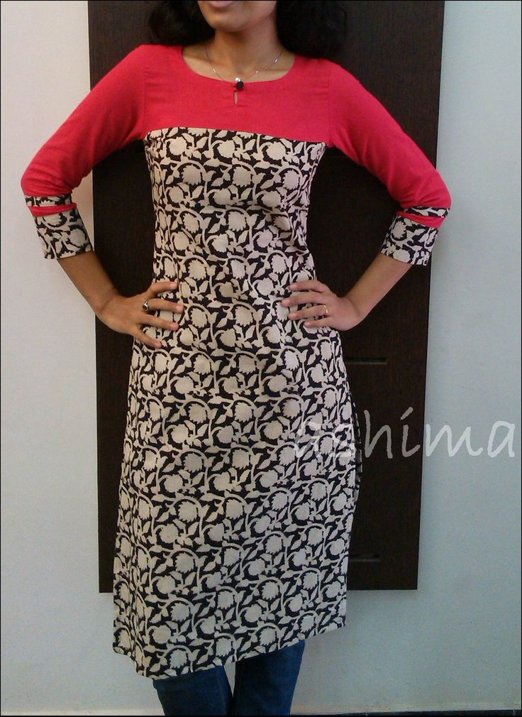 Printed Kalamkari With Plain Linen Cotton Yoke & Sleeve-Code:2905152 Rs.1090/- All sizes available.