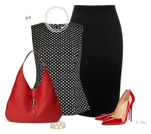 """""""Office Ready"""" by ksims-1 ❤ liked on Polyvore featuring Alexander McQueen, Diane Von Furstenberg, Christian Louboutin, Gucci, Chico's, Lele Sadoughi and Oscar de la Renta"""