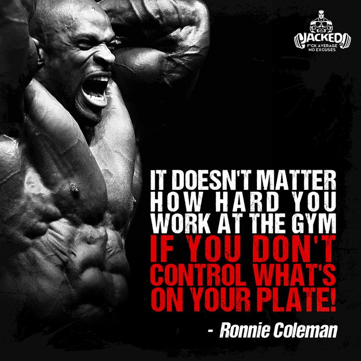 """""""It doesn't matter how hard you work at the gym if you don't control what's on your plate!"""" - Ronnie Coleman #healthyfood #bodybuilding #gymwork #jacked #eatclean #ronniecoleman"""