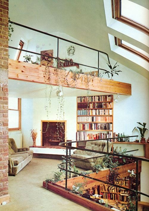 Retro loft living space with books and plants. #Plants #GreenThings #Foliage