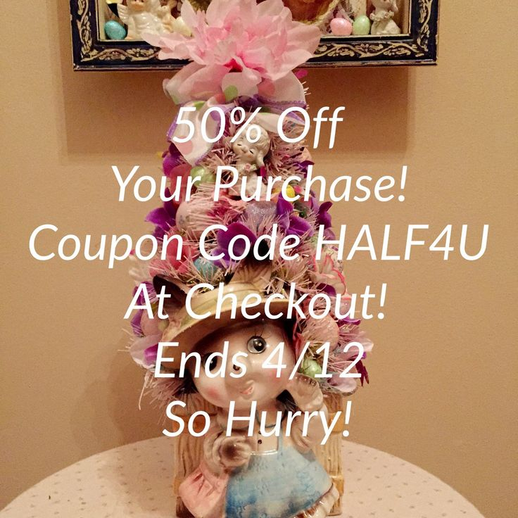50% your purchase when you use this promo code! Offer good on anything $10 or more. Enter coupon code at checkout!