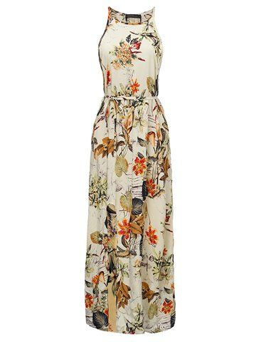 Sexy Floral Straps Side Split Sleeveless Bohemia Beach Dress
