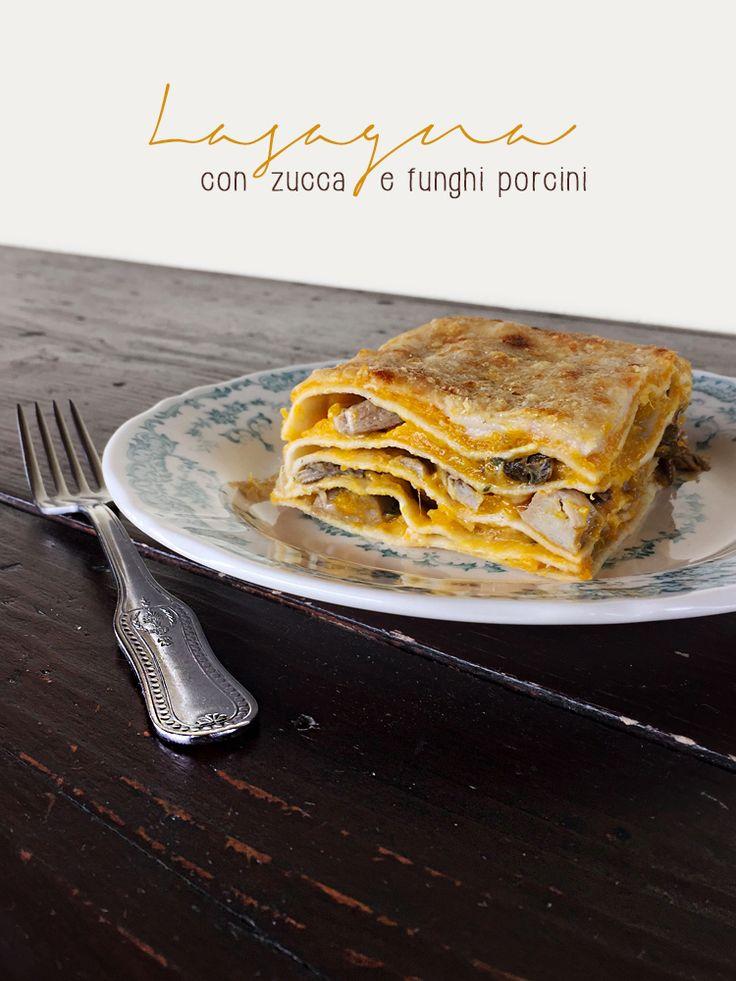 Lasagna con zucca e funghi porcini | Veganly.it - Ricette vegane dal web