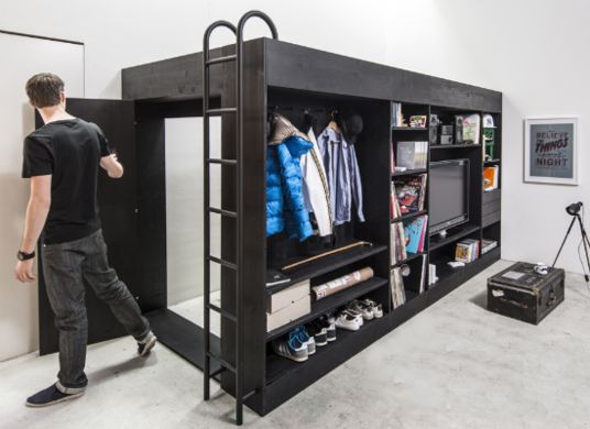 Crazy bed cube - bed on top, storage underneath