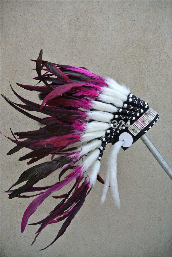 hot pink indische verentooi oorlog met de hand gemaakt indiase hoofdtooi motorkap native american zilveren hoofdband kostuum voor kostuums(China (Mainland))