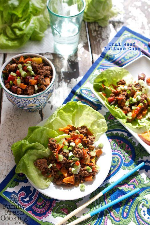 Thai Beef Lettuce Cups | Gluten Free + Grain Free + Paleo | Recipe on FamilyFreshCooking.com