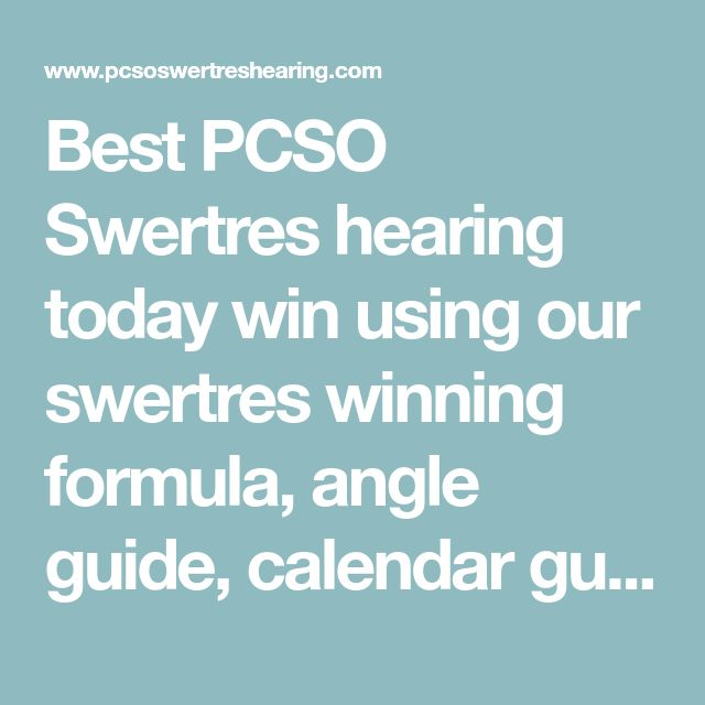 Best PCSO Swertres hearing today win using our swertres winning