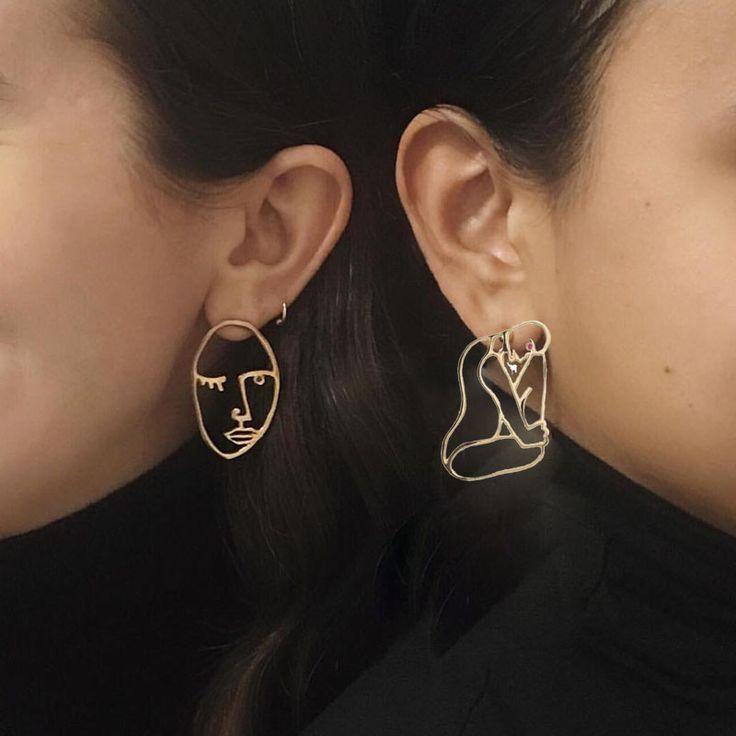 2 Estilos! personalizado Fresco Rosto Brincos Do Parafuso Prisioneiro Do Vintage Chique Corpo Declaração Brincos Grandes Meninas Bijoux Prata Ouro