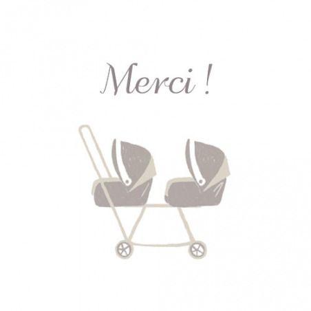 Carte de remerciement (thank you card): Petite poussette jumeaux - by Jeanne Triochka pour http://www.fairepartnaissance.fr #naissance #remerciement #birth