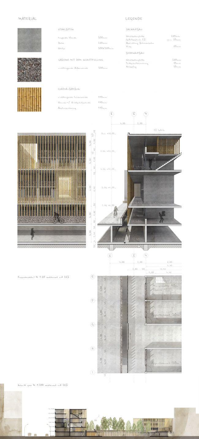 Разрез фасада. Проект «Совместный Дом. Экспериментальное социальное жилье в г. Медельин, Колумбия». © Автор: Иван Ильяков