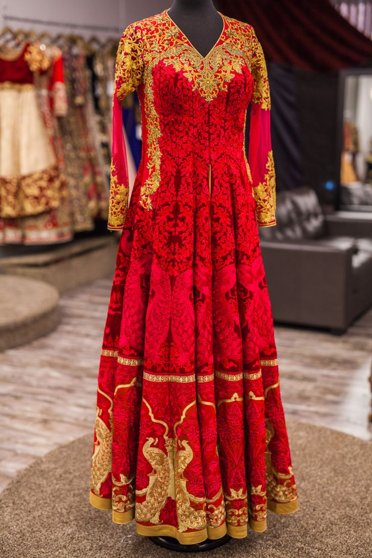 """The pride of the peacock is the glory of God"" Here's an exclusive first look at our beautiful #persian embroidery peacock motif bridal anarkali from our 2016 Wellgroomed collection! This piece is such a beauty! and definitely one of a kind! #wellgroomedinc #indian #dulhan #bridal #red #designer #bespoke #punjabi"