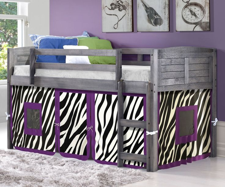 Twin Bed Loft with Zebra Tent