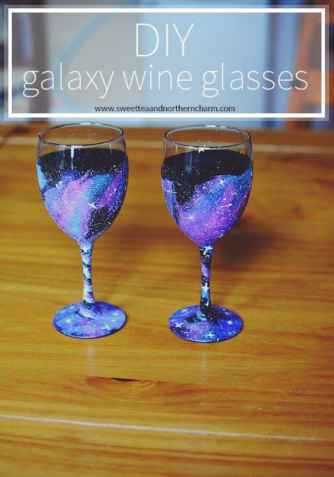 DIY Galaxy Wine Glasses | sweetteaandnortherncharm