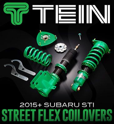 Tein has just released their Street Flex coilovers for the 2015+ Subaru STI. The Street Flex damper is the evolution of Tein's popular Type Flex coilover. Developed to provide the ultimate balance of comfort and performance for both street driving and circuit use, along with wide-range damping force adjustment using a new Advance Needle technology and new damper valving specs, giving the driver a much more noticeable feel in damping force change and controllability.