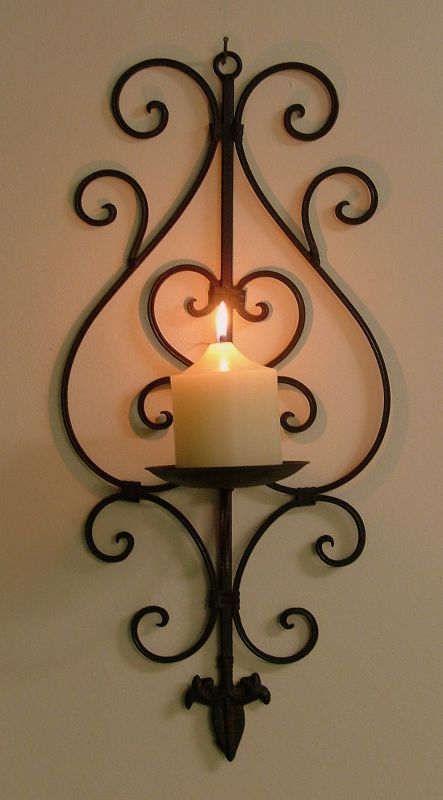 Rustic Iron Wall Candle Holders
