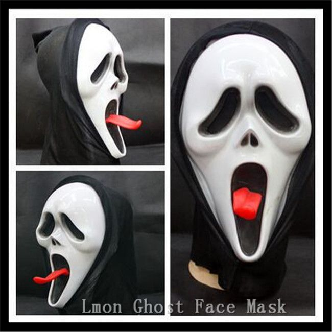 Hot Selling Super Scary Ghost Face Scream Mask Halloween mask Masquerade Latex Party Skull Ghost Scary Scream Mask Face Hood Toy