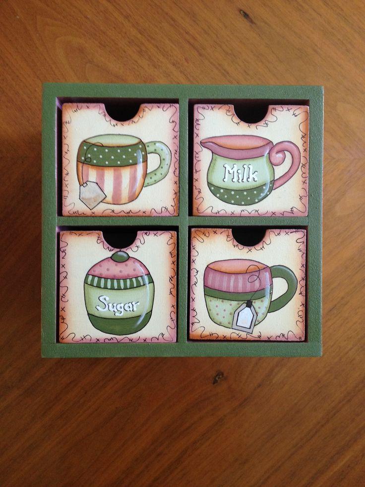 Caja para te de 4 cajones, para tener ordenados tus tés