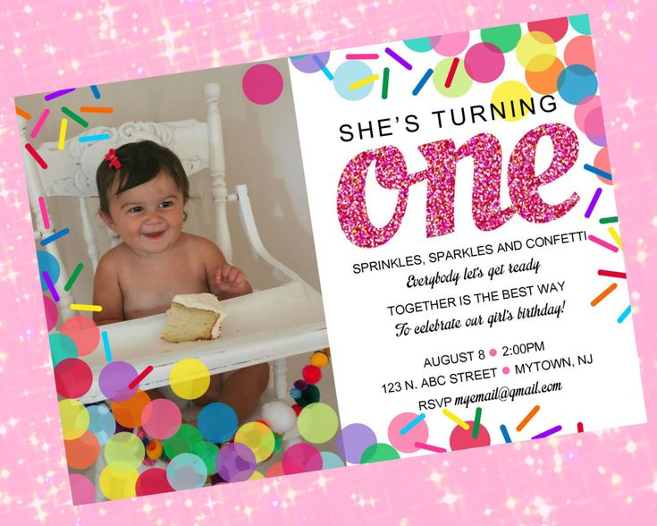 Confetti, Sprinkles, and Sparkles Birthday Invitation, Personalized Photo Party Invite - Printable Digital File by AScoopOrTwoDesigns on Etsy https://www.etsy.com/listing/263904977/confetti-sprinkles-and-sparkles-birthday