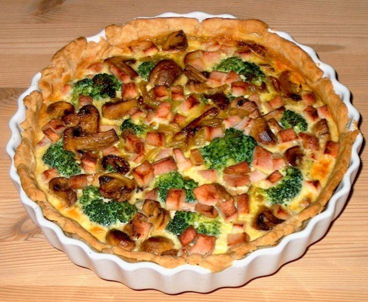 Champignon-broccolitærte med skinke, Danmark,Andet, Hovedret, Tærter, opskrift