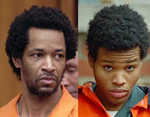 John Allen Muhammad & Lee Boyd Malvo- The D.C. Beltway Snipers.  They shot and killed 16 people and injured 2 more with a rifle placed through a hole in the trunk of their car.  This killing spree (for no reason) occurred in the D.C. Area in October 2002.  Both were captured.