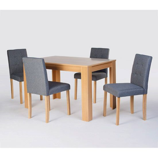 Attractive Oak Finish Table Complete With 4 Sturdy Grey Fabric Covered  Chairs. Chairs Are Constructed With The Patented Stabilyne Strength  Construction For ...