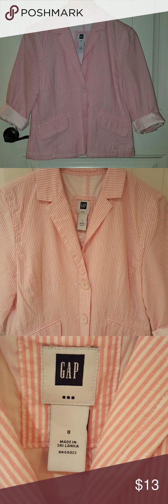 Pink and White Seersucker Jacket Size 8 3/4 length sleeves  GAP 30 percent off bundles GAP Jackets & Coats Blazers