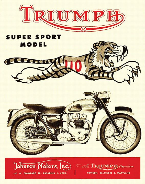 Affiche TRIUMPH MOTORCYCLES TIGER 1954 Garage par frenchprintorama