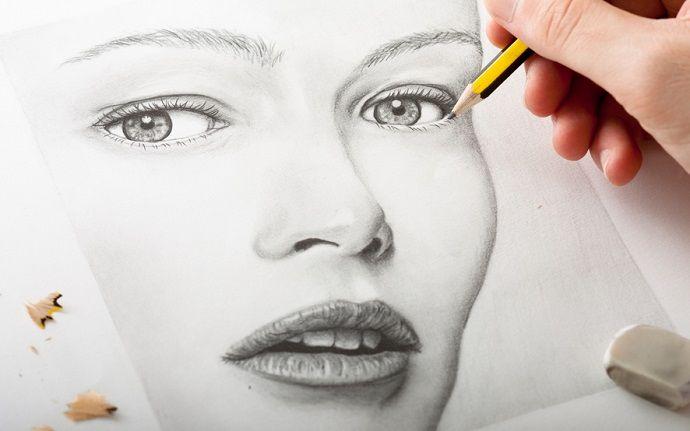 Gesicht malen Bleistift