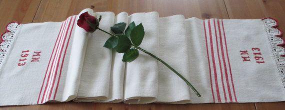 49. Antique handloomed pure flax linen towel monogrammed