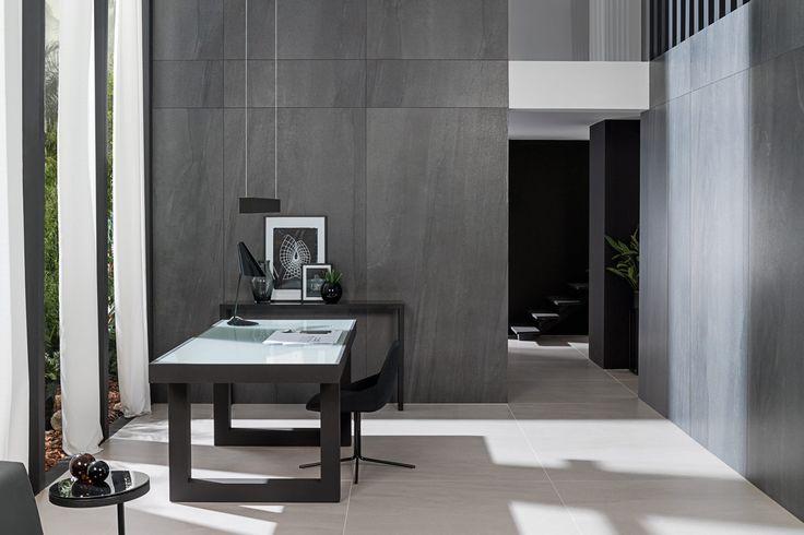 XLIGHT Premium ADEG DARK - #URBATEK #PORCELANOSA - Gres porcelánico de fino espesor - Porcelain Stone Tile, Marble Floor Tile - #precious #stones #porcelain #tile #porcelaintiles #floors #ceramics #design #architecture #minimalism #lines #white #home #decor #walltiles