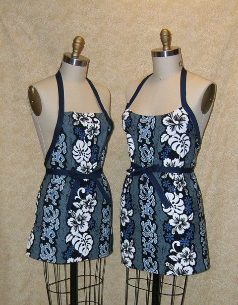 Apron Koa Hawaiian Warrior Chef Cotton with Hot Pad Pot holder tail gate party apron tribal style blue black grey gray flowers floral by TopDrawerThreads on Etsy