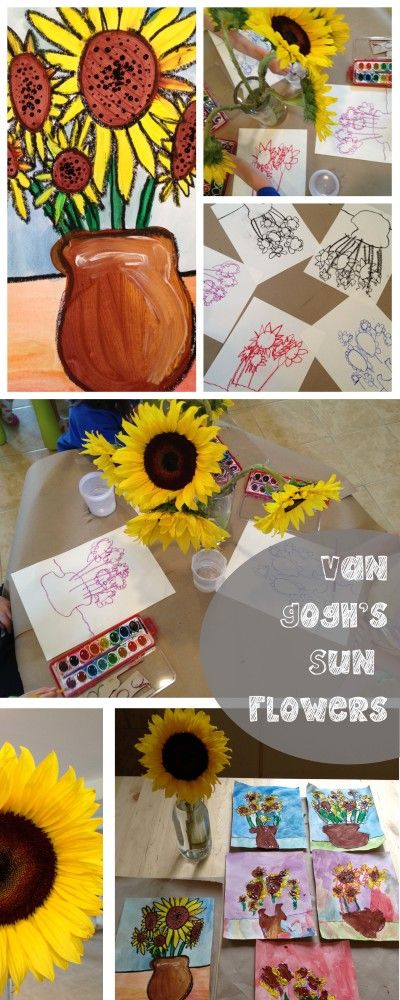 Preschool Art : Vincent Van Gogh's Sunflowers. Great inspiration and a great way to introduce en plein air painting, still life painting, and a discussion on landscapes. Famous artists are so much fun with preschool!