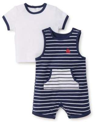 c44acdda9ba Little Me Size 6M 2-Piece Sailor Shortall and Shirt Set in Navy White