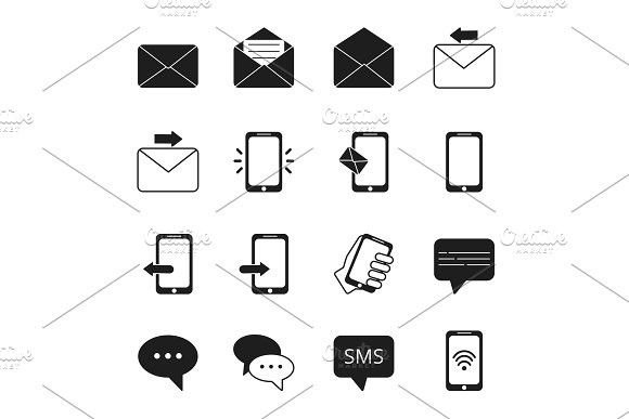 Business Icon Set Of Communication Symbols Phone Message Bubbles Email Signs Business Icon Icon Set Communication